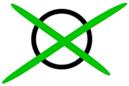 Grün angekreuzter Kreis